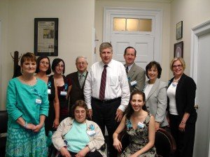 Advocates with Congressman Kissell (From left to right - seated are Jenny Sterner and Heather Ferguson, and standing is Jennifer Hovatter, Patti Graybeal, Robin Miller, Bob Weiss, Congressman Kissell, Michael Cannon, Jane Gregerson and Carol Johnson.)
