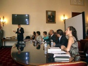 Congressman Kissell and advocates conducting a House Staff Briefing during our 2010 trip to DC