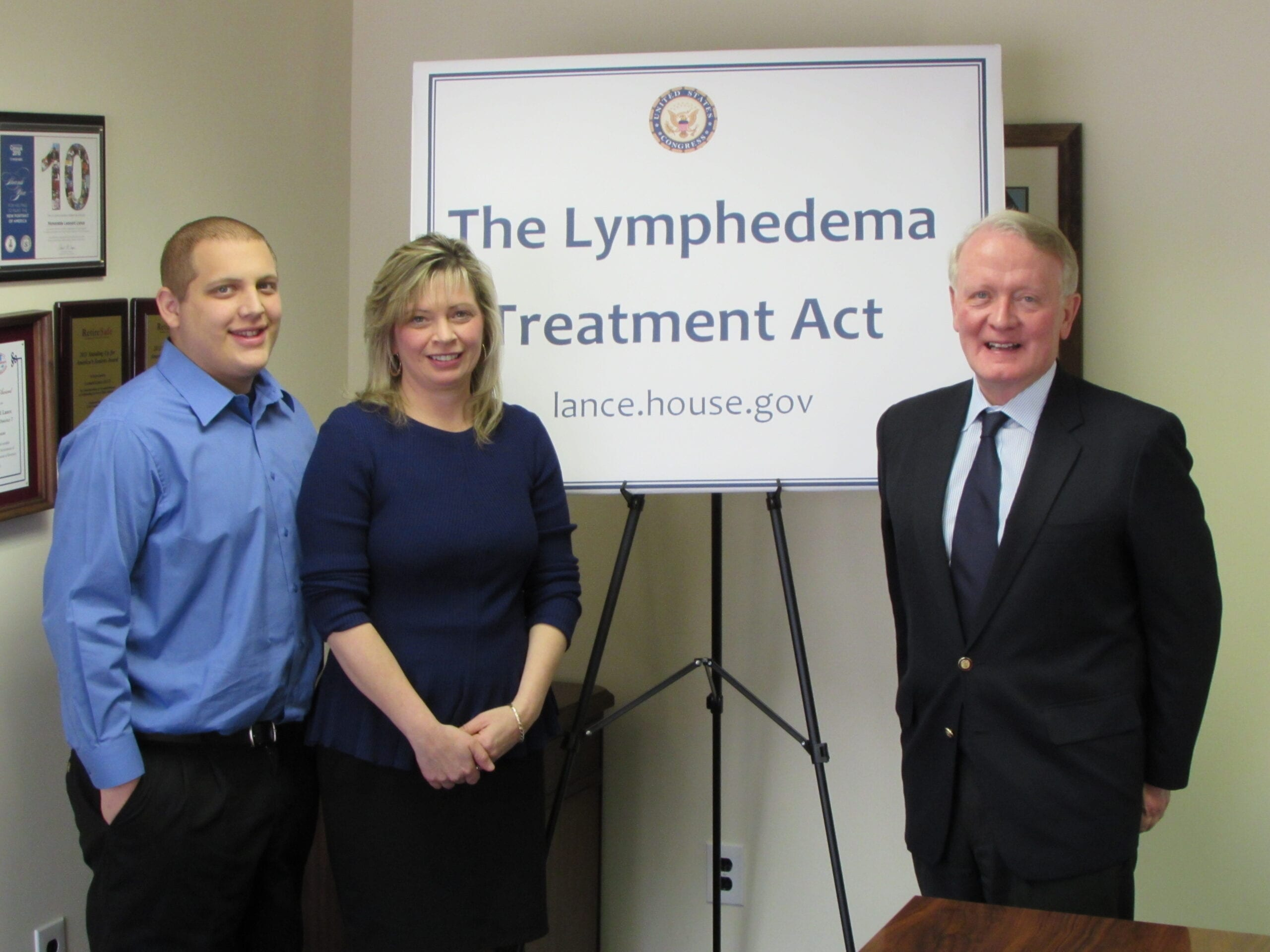 Lisa and her son Michael, who has primary lymphedema, meeting with their Congressman, Leonard Lance, who is a co-lead of the Lymphedema Treatment Act.
